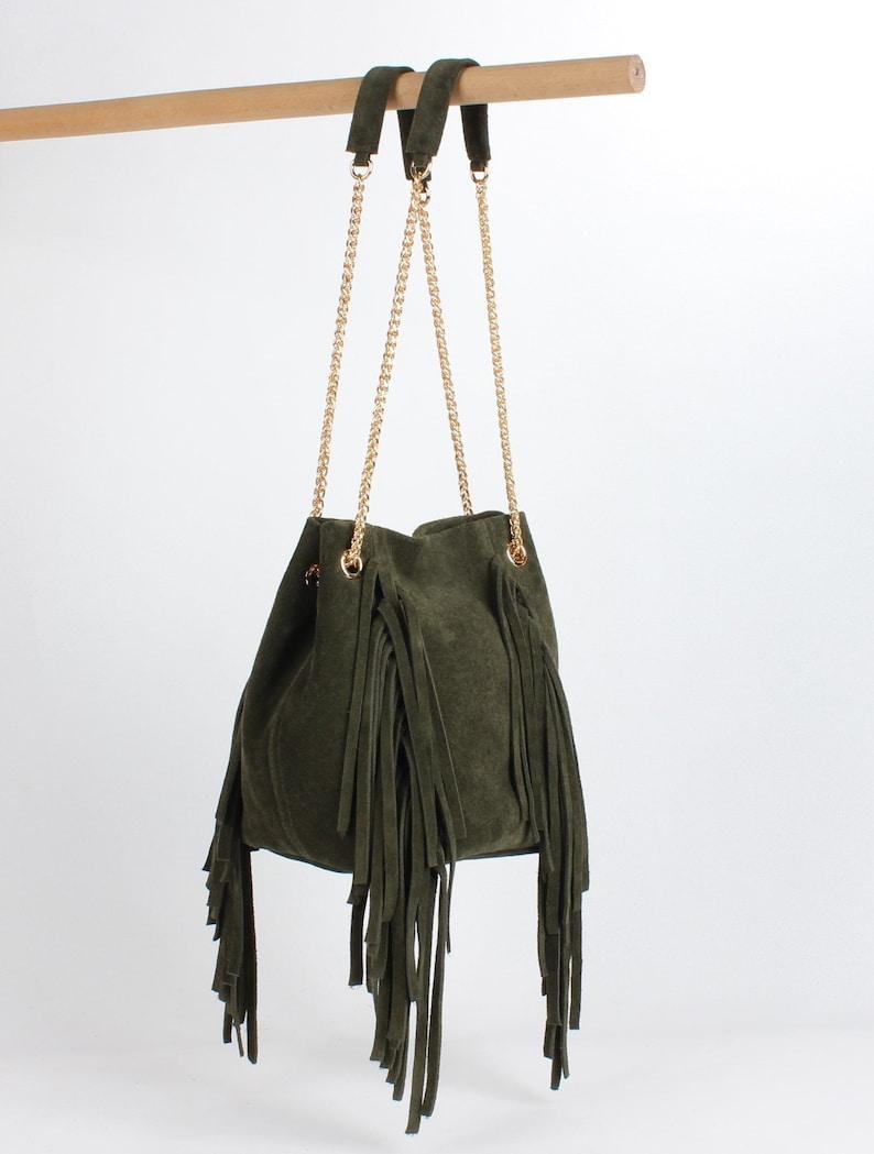9e8a99fa738e5 Leder-Beuteltasche Leder Handtasche Frauen echtes Wildleder