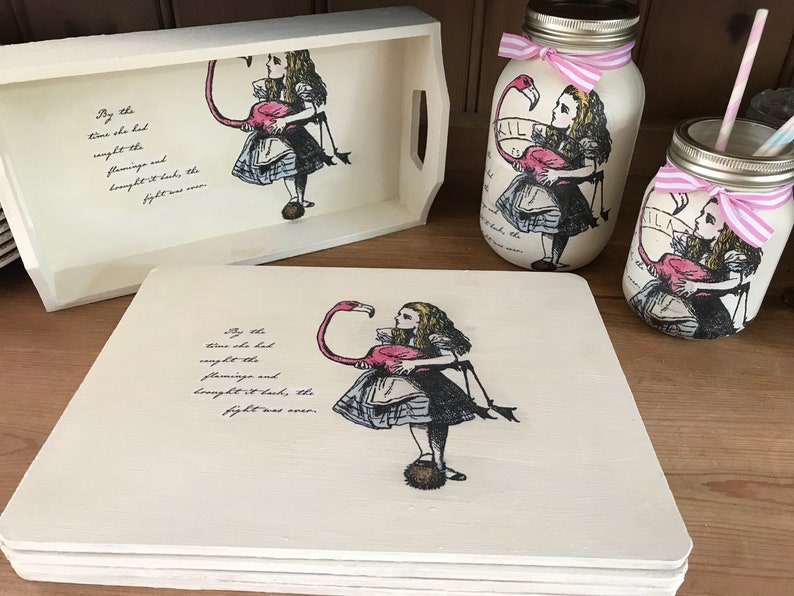 Alice In Wonderland Home Decor Tray 4 Table Mats Large