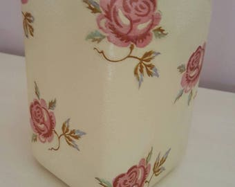 Large hand painted and decoupaged jar.