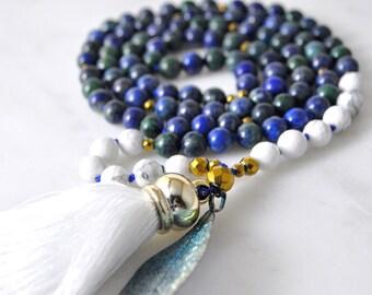 Chrysocolla White Howlite Mala, Silk tassel, 108 Mala Beads, Gemstone Mala Necklace, Hand knotted Japa Mala Prayer Beads, Yoga Jewelry