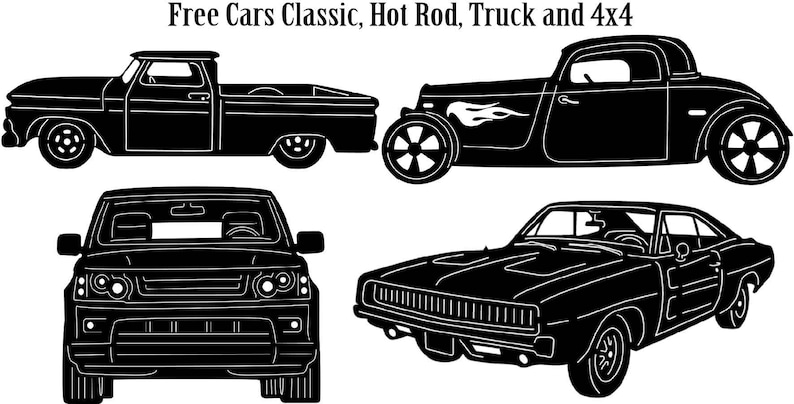 Cars Classic, Hot Road, Muscle, Modern, Truck and 4x4-DXF files cut ready  for cnc machines, laser cutting and plasma cutting