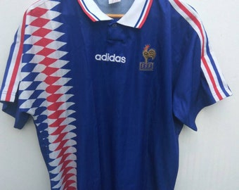 Vintage Adidas France F.F.F Jersey World Cup Winner 90s Adidas France  Throwback jersey Adidas 3 Stripes Home Jersey 4dd003590