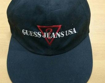 Vintage 90s Guess Jeans Trucker Cap Guess  USA Rap Hip Hop One Size d1249dd3b663