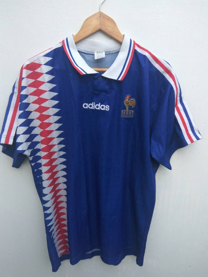 separation shoes 30dfe 81e4d Vintage Adidas France F.F.F Jersey World Cup Winner 90s Adidas France  Throwback jersey Adidas 3 Stripes Home Jersey