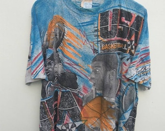 90s MAGIC JOHNSON La Lakers USA Basketball Gold Rush Dream Team Usa Print all over t shirt