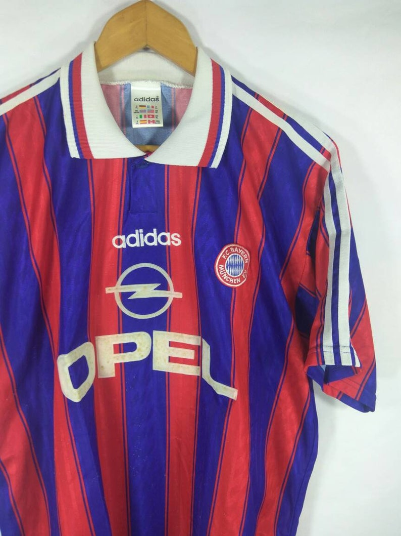 premium selection 89eea 17a65 Vintage Adidas 90s BAYERN MUNCHEN vintage shirt jersey football soccer red  blue striped Large sizea