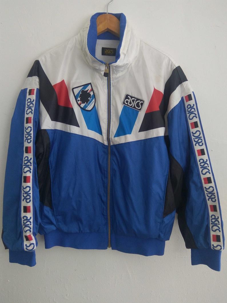 Vintage Asics Sampdoria Trainer Match Worn Jacket Multi color Asics Track Top Jacket Rare Large size