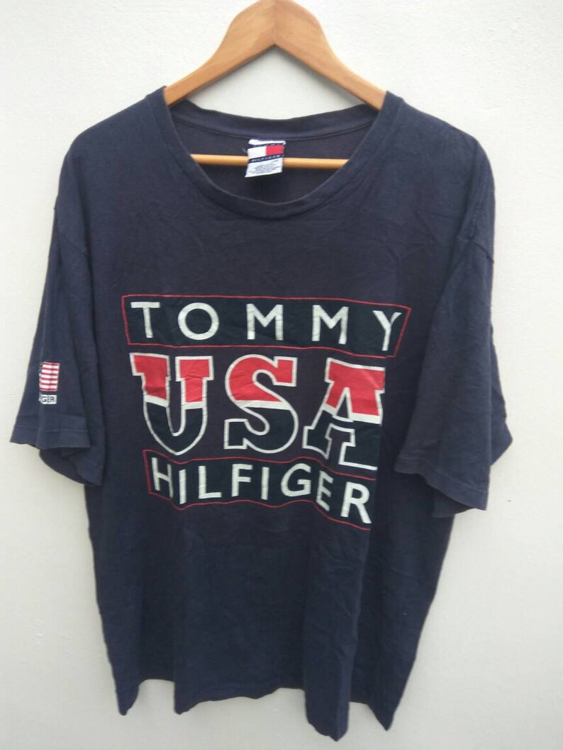 4c36b0f2b Vintage 90s Tommy Tommy Hilfiger USA Hilfiger spell out blue t shirt LO  LIFE Tommy Large size