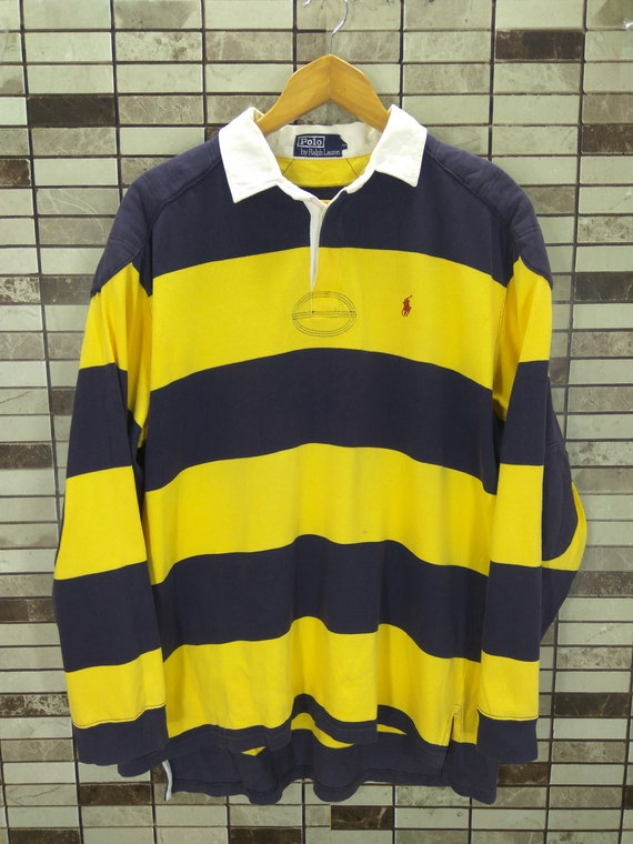 90s Polo Ralph Lauren Striped Yellow Blue Sailing Gear Tommy Polo Rugby Shirt Multi color Large size Long Sleeve