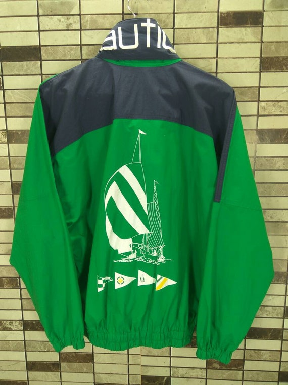 90s NAUTICA Sailing Gear Nautica Spell Out Green J