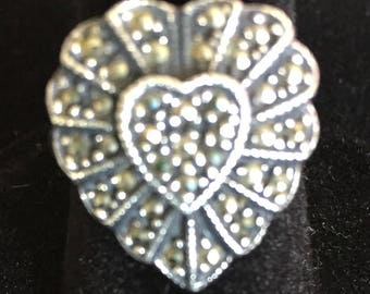 Judith Jack Vintage Sterling Silver Marcasite Heart Ring Size 7