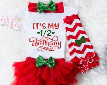Half Birthday Outfit Girl Christmas Bodysuit Baby 6 Month Photo Tutu XBHR