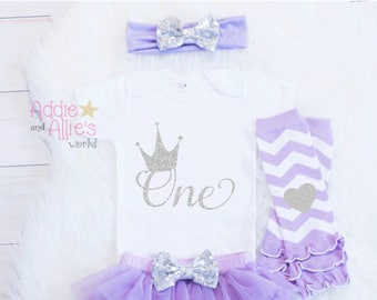 Cake Smash Outfit, First Birthday Outfit Girl Lavender and Silver, Girl First Birthday, Baby Girl 1st Birthday, 1st Birthday Outfit, B5LS