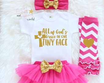 Christian Baby Shower Gift, Newborn Girl Outfit, Baby Girl Coming Home Outfit, Baby Girl Clothes, Pink and Gold Baby Girl Outfit, I1HP