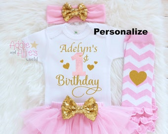 Personalized First Birthday Outfit Custom Baby Girl 1st Pink And Gold Cake Smash B21P