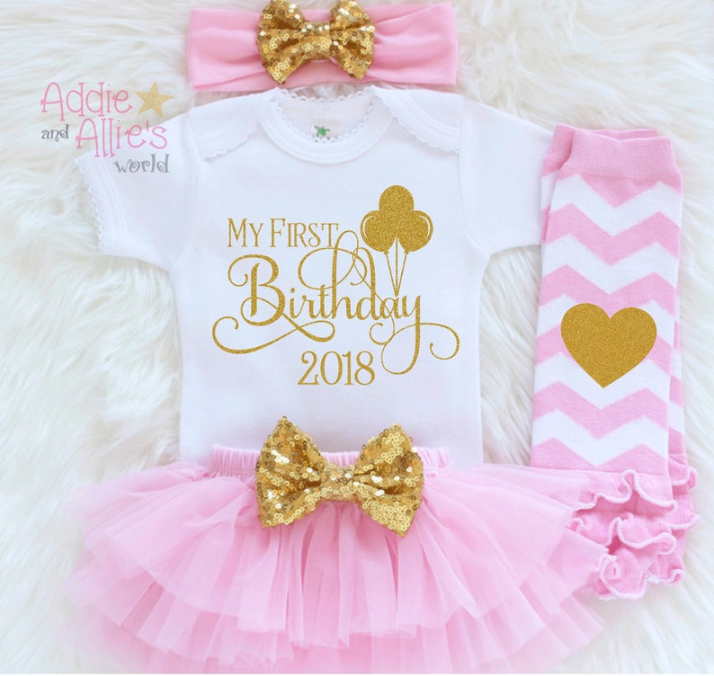 dddbc2bb1 Pink and Gold 1st Birthday Outfit Girl First Birthday Outfit