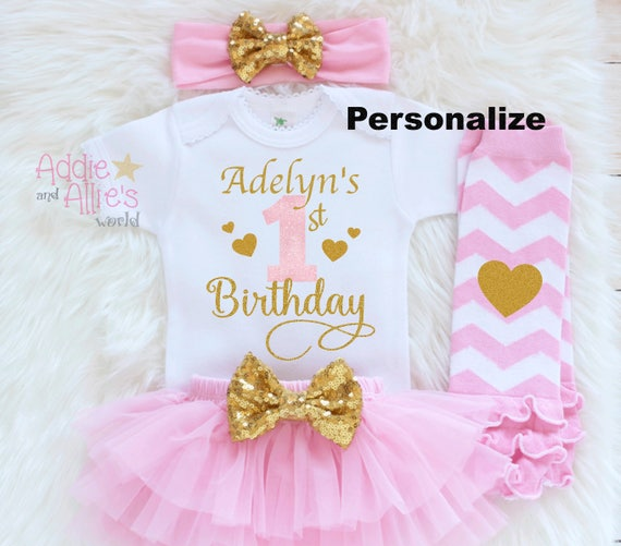 Pink and Gold Cake Smash Outfit Girl Personalized First Birthday Outfit Baby Girl Music 1st Birthday Outfit First birthday Outfit B36P