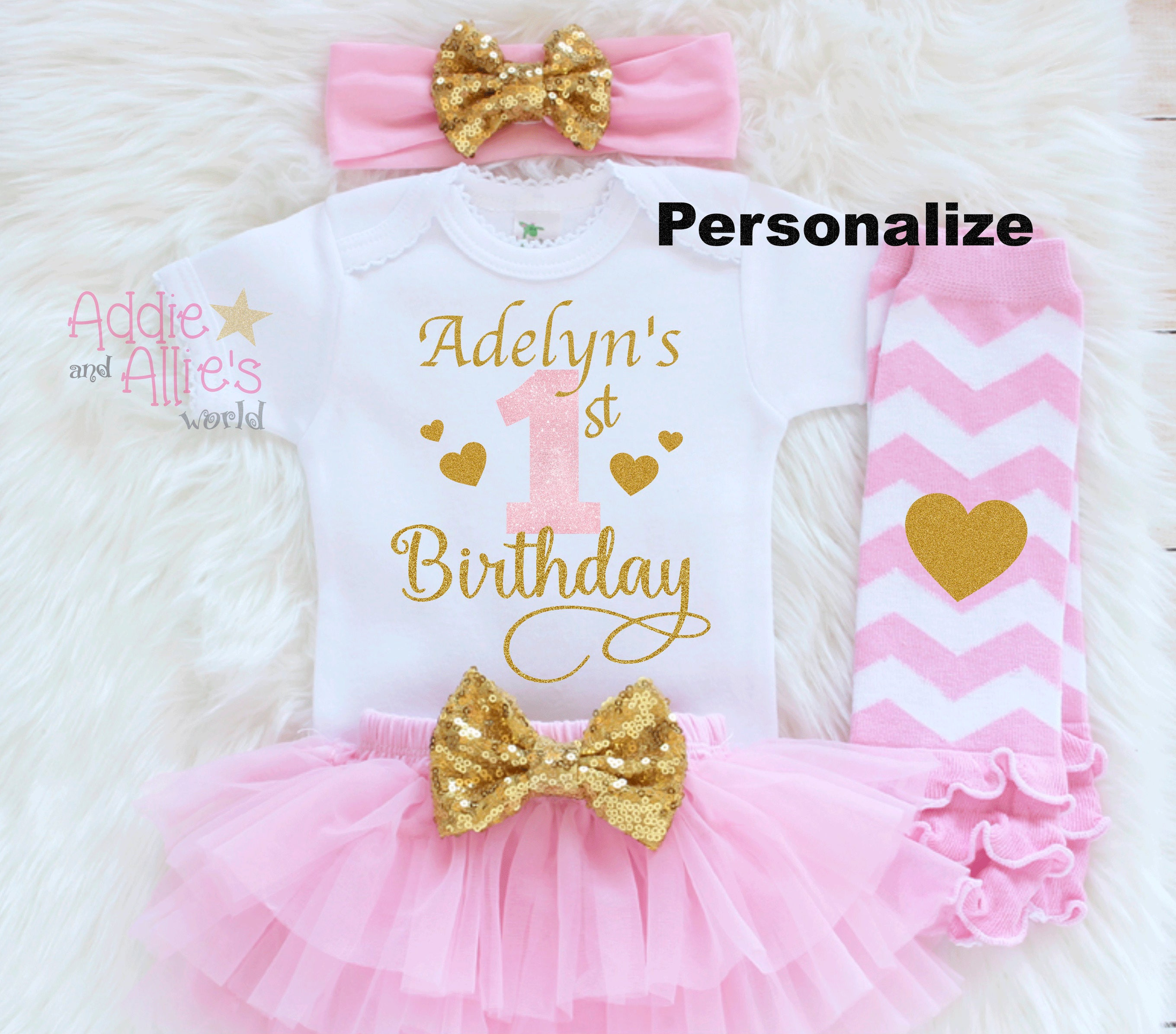 d27bc3b2d Personalized First Birthday Outfit Custom Baby Girl 1st | Etsy