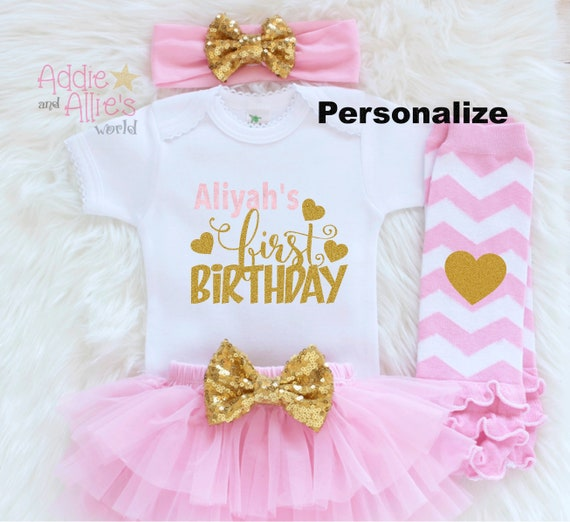60e0a2bde3 Personalized First Birthday Outfit Custom Baby Girl 1st