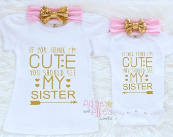 Matching Sibling Outfits, Big Sister Little Sister Outfits, Big Sister Outfit, Little Sister Outfit, Promoted Big Sister Shirt, SS18P