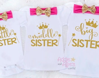 Matching Sister Outfits, Big Sister Middle Sister Little Sister Outfits, Matching Sister Outfits, Sibling Outfit, Matching Shirts, SS13HP