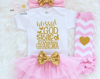 Christian Baby Gift, Newborn Girl Outfit, Baby Girl Coming Home Outfit, Baby Girl Clothes, Pink and Gold Baby Girl Tutu Outfit, G14P