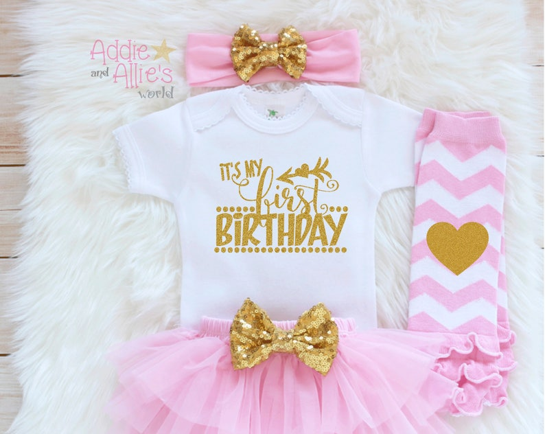 My First Birthday Outfit Girl 1st Pink And Gold