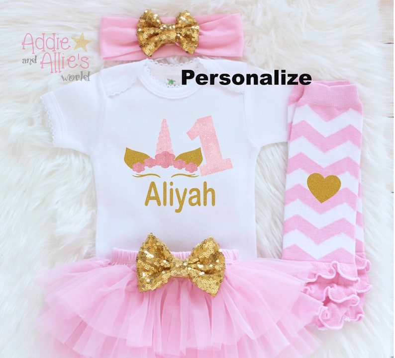 B27 First Birthday Outfit For Girl Unicorn Birthday Outfit Personalized Unicorn Birthday Outfit 1st Birthday First Birthday Outfit Girl