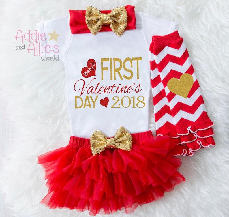 Baby First Valentines Bodysuit V1G Baby First Valentines Outfit My 1st Valentines baby girl Baby Valentine Outfit Baby Valentine/'s Tutu