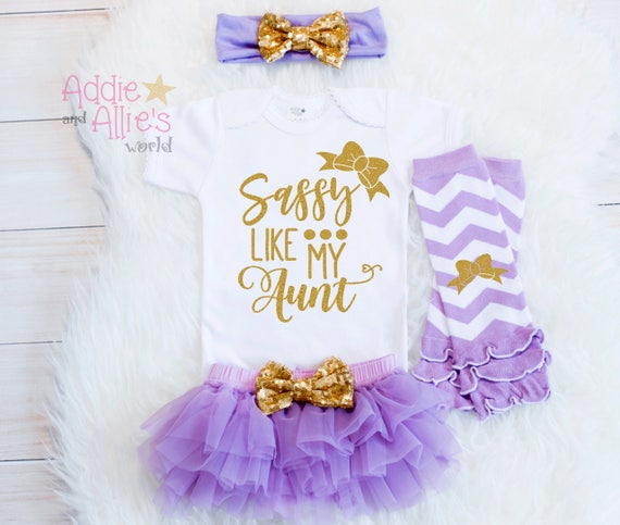 Aunt gift Aunt Baby shirt Baby Aunt Baby Gift Baby Girl Outfits girl baby shower Coming Home G2LG Baby Girl Clothes Sassy like my Aunt