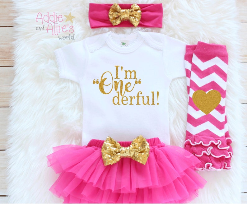 I/'m OneDerful Birthday Outfit Girl Pink and Gold tutu Birthday Girl Baby Bodysuit B3P cake smash outfit 1st Birthday Girl Outfit