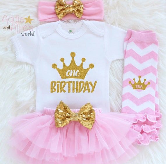 1st Birthday Outfit Pink And Gold Girl First