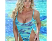 Sexy One Piece Swimwear Monokini Tank Swimsuit in Turquoise Tropical Print Semi-Sheer Mesh