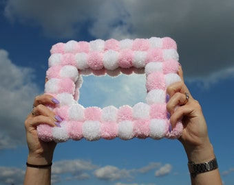 Pink Check Fluffy Picture Frame - Pastel Pink and White Pom Pom Photo Frame - Wavy Tufted Style Decor