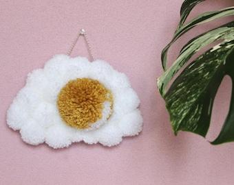 Fried Egg Pom Pom Wall Hanging - Sunny Side Up Egg Tufted Style Hanging