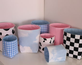 Pink and Blue Patterned Fabric Baskets / Plant Pots / Storage Boxes - Gingham, Cow Print, Check, Sky Print