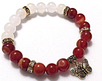 Womens Gemstone Butterflu Charm Bracelet