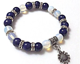 Womens Sunflower Charm Gemstone Bracelet