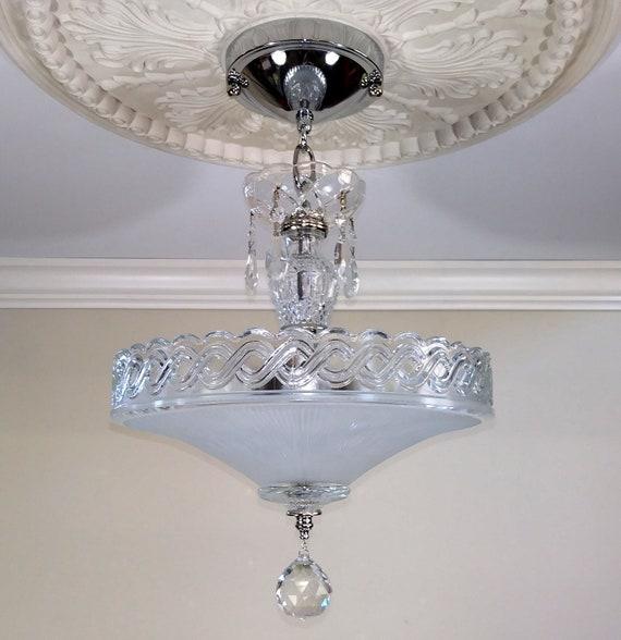 Vintage Art Deco Ceiling Light Fixture Chandelier | Etsy