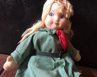 58e6b126d0 Vintage, 1940's Georgene Novelties Girl Scout Doll in Olive Drab Green  Dress Uniform