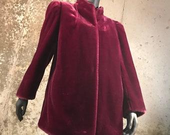 Vintage 1980's Deep Burgundy Sasson Fur Coat
