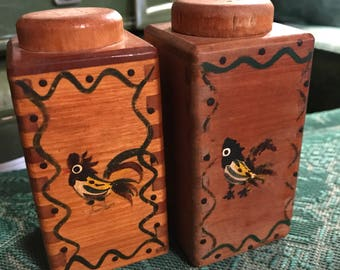 1950's Vintage Wooden Salt and Pepper Shakers
