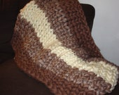 Striped Hand Knit Super Bulky Throw Afghan Two or Three Color Customized
