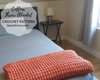 Chunky Crochet Blanket - Collina Throw Blanket - CROCHET PATTERN