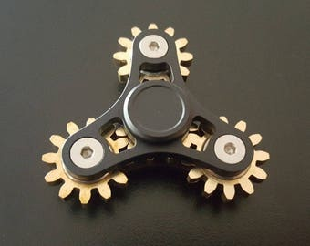 Precision Machined ALL METAL 4 Geared Fidget Hand Spinner Desk Toy