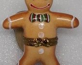Vintage Porcelain Limoges France Gingerbread man trinket box