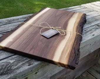 Rustic, Live edge, cutting board, charcuterie, chopping block, serving tray, centerpiece, black walnut, handmade.  Custom sizes available!