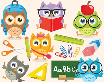 Back to School Owls clip art, vector, graphics, digital clip art, digital images, owls clip art, school digital clip art, owl clipart