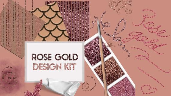 ROSE GOLD Design Kit - Rose Gold Digital Paper - Rose Gold Textures,  Glitter, Gold Foil, Metallic, gold, rosegold, red gold