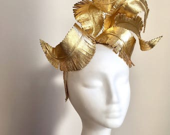 Gold Leather Fascinator